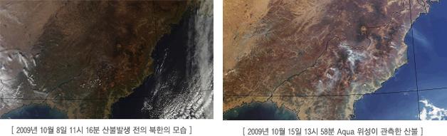 <좌>2009년 10월 8일 11시 16분 산불발생 전의 북한의 모습 <우>2009년 10월 15일 13시 58분 Aqua 위성이 관측한 산불