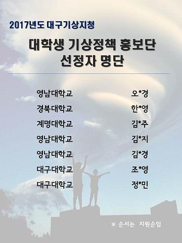 홍보단 선정 결과
